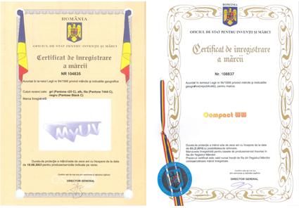 Certificate de înregistrare a mărcilor Compact WW și MyUV
