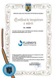 Certificat de înregistrare a mărcii Fluensys