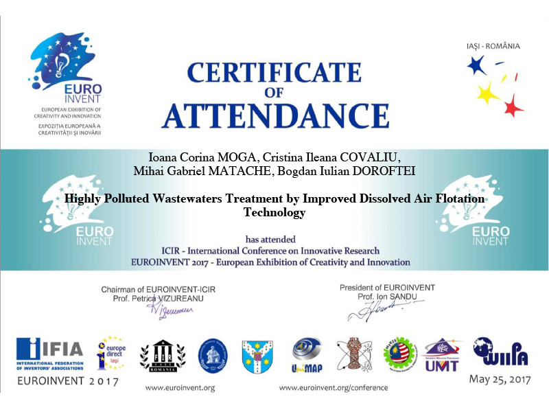 Certificate of Attendance Euroinvent - 2017